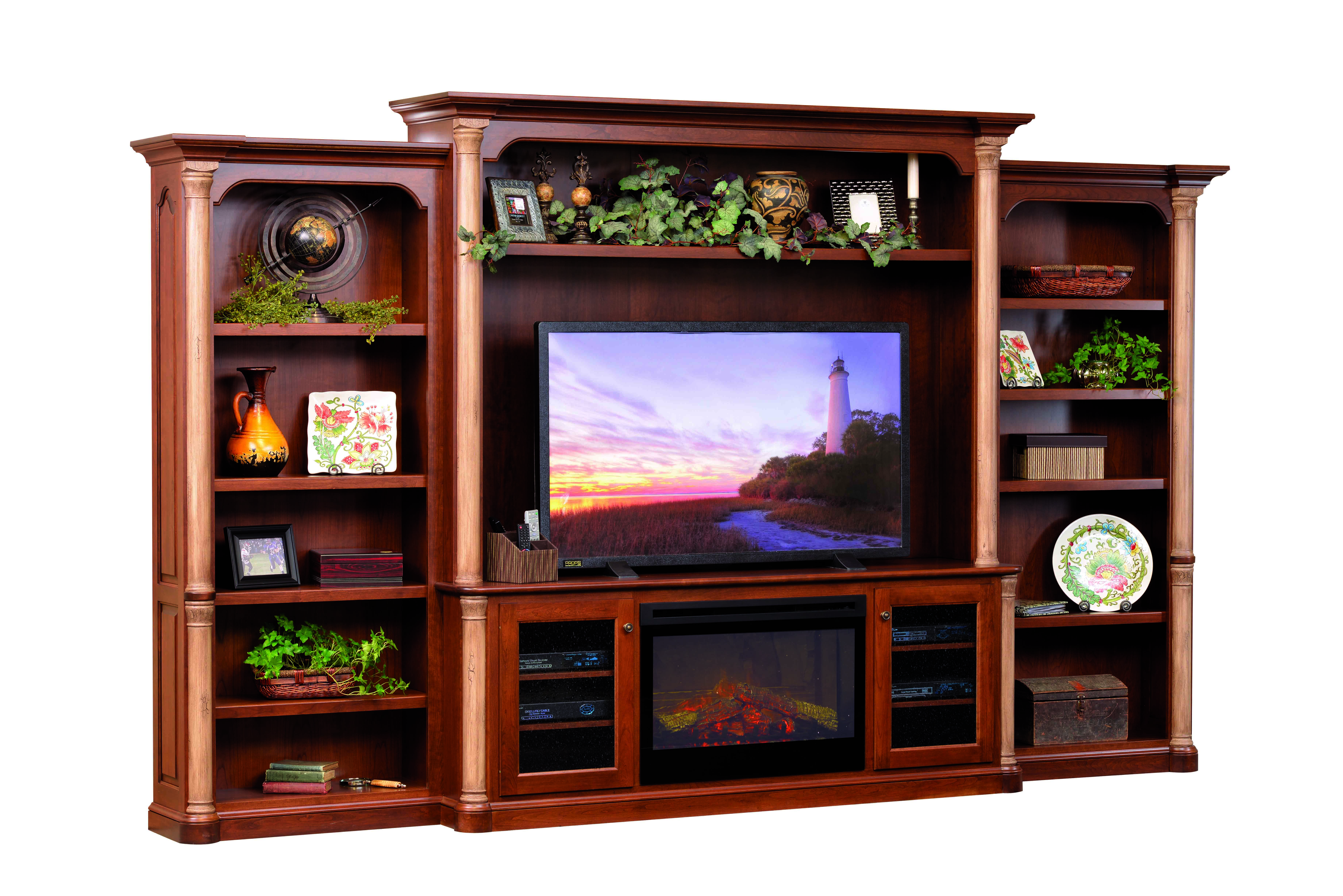 Jefferson Entertainment Center w/Fireplace & Bookcases ...